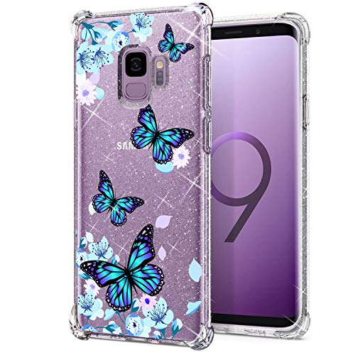 KIOMY Clear Glitter Case for Samsung Galaxy S9, Girls Women Bling Sparkly Shiny Luxury Cases with Flowers Butterfly Design Shockproof Bumper Protective Cell Phone Back Cover Slim Fit Flexible Shining