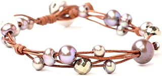 Chan Luu Freshwater Cultured Pearl Single Wrap Bracelet on Natural Leather