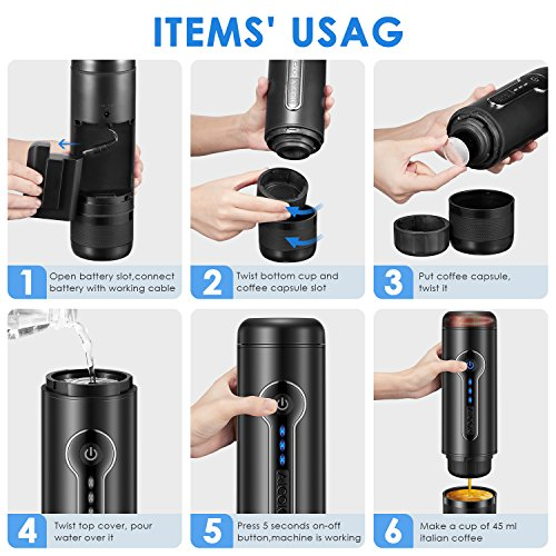 AICOK Portable Espresso Machine, 15 Bar Electric Espresso Maker with Heating Function, Small Travel Coffee Maker Compatible with Nespresso Capsules, Easy to Clean, Perfect for Camping, Travel, Office