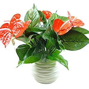 JENPECH Artificial Flower,1Pc 3 Heads 9 Leaf Artificial Anthurium Flower Plant Home Office Garden Decor – Yellow