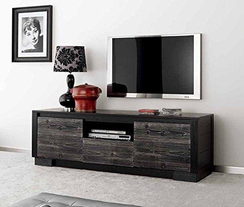 Meuble TV 2 portes en bois massif 1 tiroir, 1 compartiment à jour