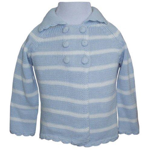 Powell Craft – Manteau en tricot rose à rayures Poussette Bleu Blue and white stripe 18-24 mois
