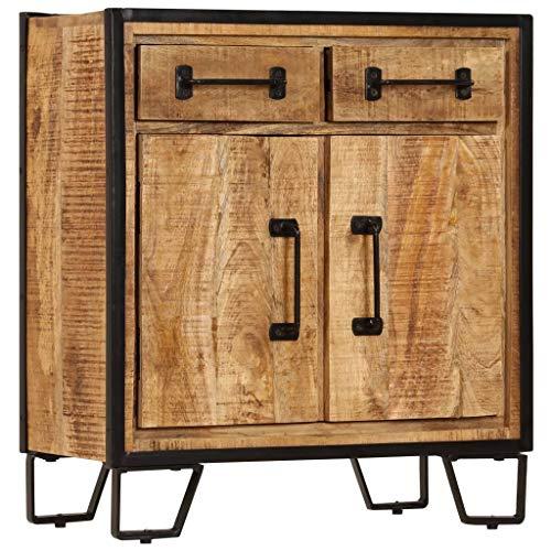 Festnight Sideboard Kommode Schrank | Holz Beistellschrank mit 2 F?Chern und 2 Schubladen für Esszimmer Küche Wohnzimmer Schlafzimmer 65 x 30 x 70 cm Massivholz Mango & Stahl