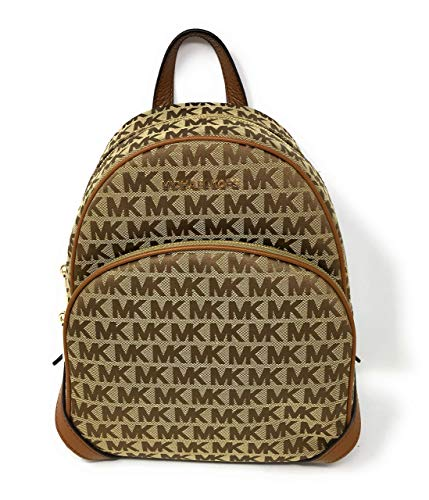 MICHAEL KORS SIGNATURE MEDIUM SIG JACQUARD ABBEY BACKPACK BEIGE EBONY