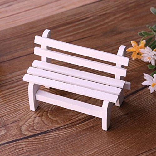 Vientiane Miniatur Gartenbank, Miniatur Garten Patio Furniture Holz Stuhl Micro Landschaft Dekoration für DIY Dekorative Verzierungen, Fotografie Requisiten (10,5 x 5 x 7cm)