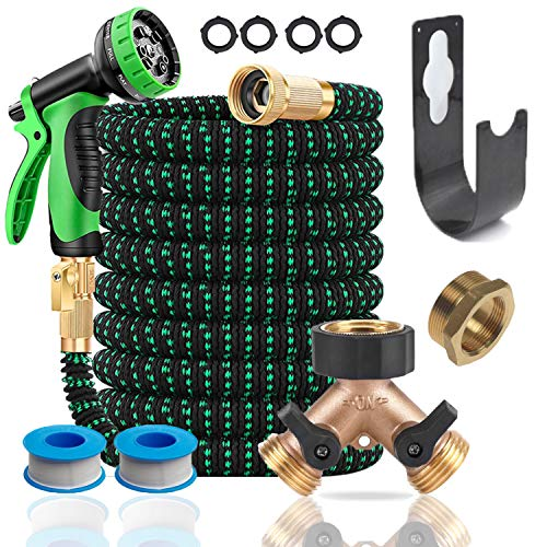 DBR Tech 100ft Expandable Garden Hose with 10 Pattern Water Sprayer Nozzle, Flexible Latex, Solid Brass Fittings for Watering Plants, Washing Cars, or Landscaping, Portable and Kink Free