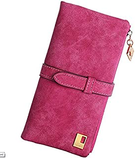 Women Drawstring Design Nubuck Leather Long Two Fold Clutch Wallet