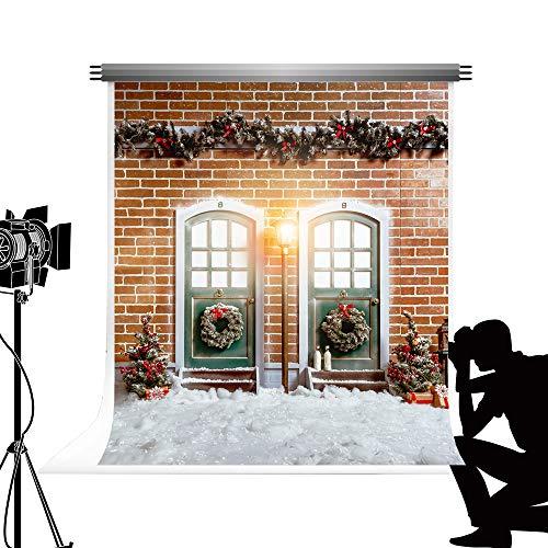 Kate al Aire Libre Invierno Nieve Foto telón de Fondo 1.5x2.2 m Pared de ladrillo Retro árbol de Navidad Rama de...