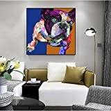 Abstract Bulldog Pintura Al Óleo Pintado A Mano - Personalidad Animal Casa Decoración Biblioteca Mural Hotel Clubs Bar Villa Pasillo Colgante Pintura Cartel Obras De Arte Regalos Sin Marco, Como Es