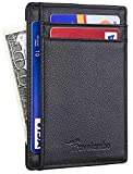 Travelambo RFID Front Pocket Minimalist Slim Wallet Genuine Leather Small Size (black)