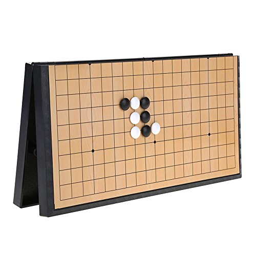 Demeras Go Game Set Weiqi Educational Games with PVC Stones and Collapsible Go Chess Board Board Game of Strategy for Kids And Adults
