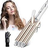Rizador de pelo, Pinzas Rizadoras ,Rizador de Pelo de Cerámica de la Turmalina de 3 Barriles Rizador de la Onda Grande de la Ondulación Permanente de la Ondulación de la Perla -CkeyiN