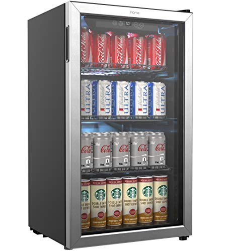 hOmeLabs Beverage Fridge & Cooler - Mini Fridge with Glass Door for 120 Cans. Store Wine,Soda,Beer- Small Drink Dispenser for Office, Bar with Adjustable Removable Shelves