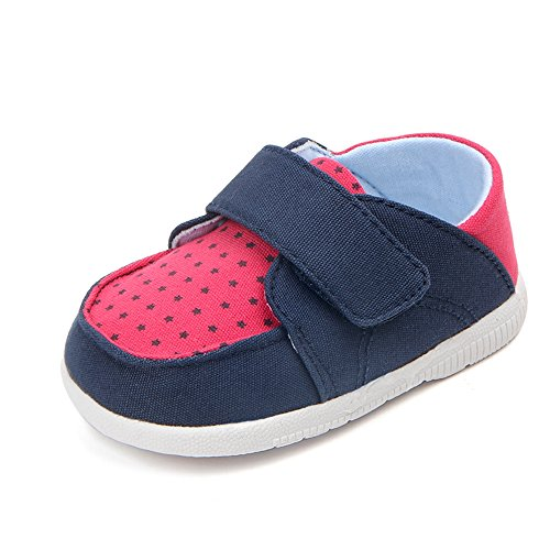 Lidiano Baby Toddler Non Slip Rubber Sole First Walker Shoes (6-5 M US Toddler, Blue & Red)