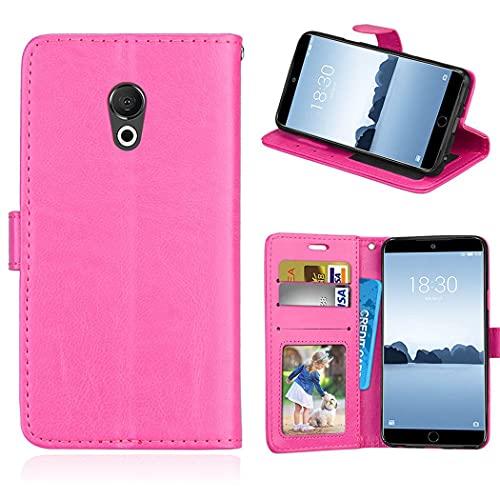ShuiSu Funda con tapa para Meizu 15 Lite / M15, piel sintética de alta calidad, cierre magnético, con función atril, bolsillos para tarjetas, color rosa