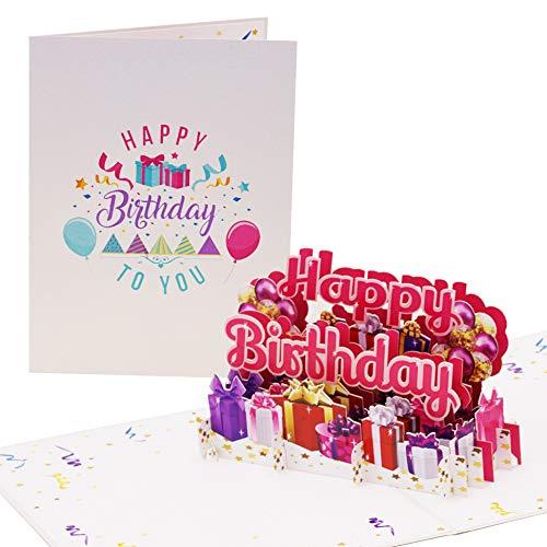 XL Happy Birthday Geburtstagskarte Pink | Glückwunschkarte oder Gutschein zum Geburtstag Groß | Pop up Karte Geburtstag, 3D Luftballons, Geschenke, G24.1