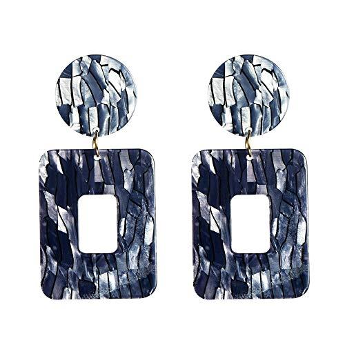 Europese en Amerikaanse fan fashion temperament persoonlijkheid gestreepte vierkante oorbellen vrouwelijke retro koude wind ontwerp oorbellen niche straat schieten stijl