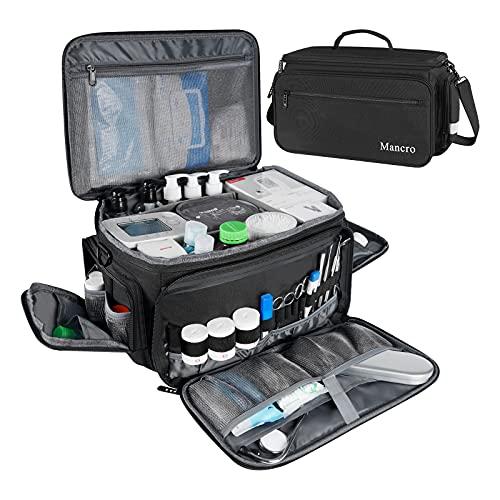 Medical Bag, Medical Equipment Bag Empty with Adjustable Divider, Nonslip Bottom, Removable Shoulder Strap, Water-Resistant Home Health Nurse Bag for Medical Student, Therapist, Black