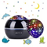 Tyhbelle LED Projektor Lampe,Sternenhimmel Baby Nachtlicht 2 in 1 Ozean Projektor & Sterne Nachttischlampe 360° Grad Rotation Projektionslampe 8-Farbwechsel Perfekt für Kinder Schlafzimmer (Schwarz)