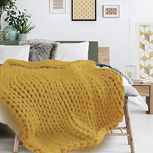 THE HOME DECO FACTORY Plaid, Acrylique, Jaune, Taille Unique
