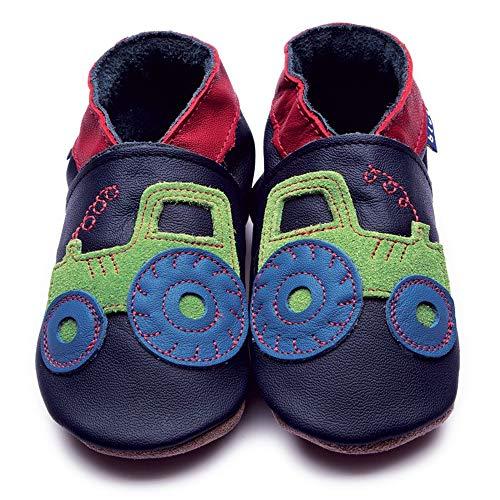 Inch Blue Mädchen/Jungen Schuhe für den Kinderwagen aus luxuriösem Leder - Weiche Sohle - Traktor Dunkelblau