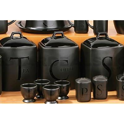 Cheap Black Ceramic Tea Coffee Sugar Biscuit Jar Salt