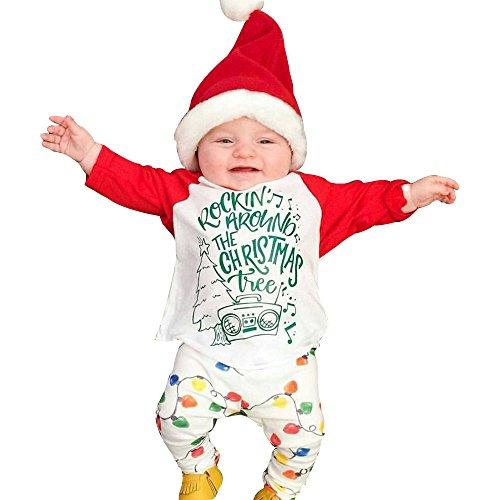 Ouneed® 6-24 Mois Bebe Fille Garcom Noel Deguisement Pere Noel Motifs Pyjama de Ensemble (12M)