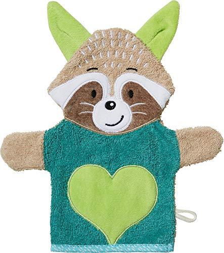Erwin Müller Kinder-Waschhandschuh, Waschlappen 2-in-1 Fuchs Walk-Frottier grün Größe 25x23 cm - weich, saugstark, strapazierfähig, mit Aufhängeschlaufe