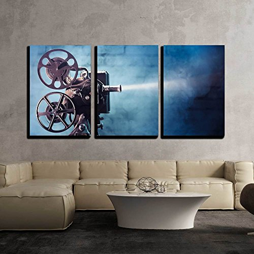 """wall26 - 3 Piece Canvas Wall Art - Photo of an Old Movie Projector - Modern Home Decor Stretched and Framed Ready to Hang - 24""""x36""""x3 Panels"""