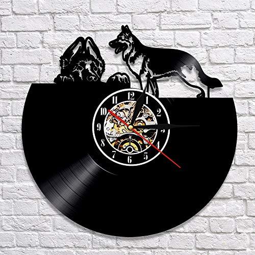 BFMBCHDJ Reloj de decoración de Arte de Pastor alemán Reloj de Pared de Animales 3D Reloj de Vinilo de Cachorro de Perro único Reloj de Arte Reloj para Amante de Mascotas Sin LED 12 Pulgadas