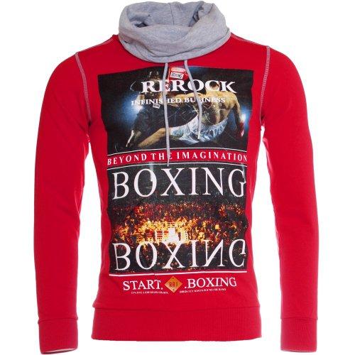 ReRock Herren Pullover Sweatshirt mit Tube-Schalkragen Slimfit RSJ-900, Grösse:XL;Farbe:Rot