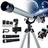 Astronomical Telescope for Kids and Astronomy Beginners, 900mm/60mm Good Partner to View Landscape and Planet, with Tripod, Phone Adapter, Shutter Remote - Silver