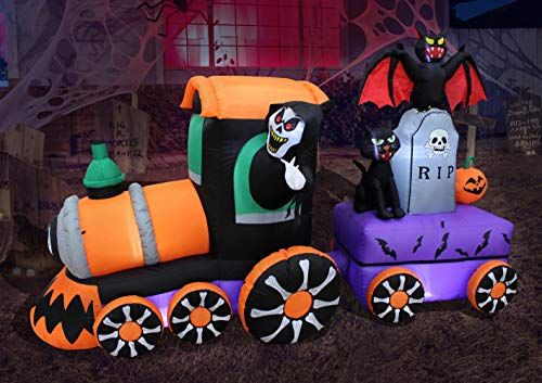 Halloween Lighted Inflatable Grim Reaper Ride Train for Yard Decor