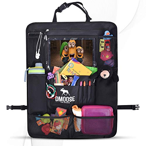 DMoose Backseat Organizer for Kids with Touchscreen Tablet Holder, Neoprene Water Bottle Pockets, and Space Saving Storage, Seat Protector Kick Mat and Travel Support