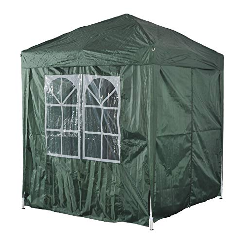 Outsunny 2m x 2m Garden Pop Up Gazebo Marquee Party Tent Wedding Awning Canopy New With free Carrying Case Green + Removable 2 Walls 2 Windows