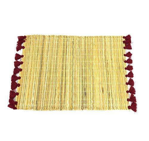 « Artisanat marocain » Set de Table en Osier Naturel avec des Franges 30x40 cm - Natural Wicker placemat with Fringes