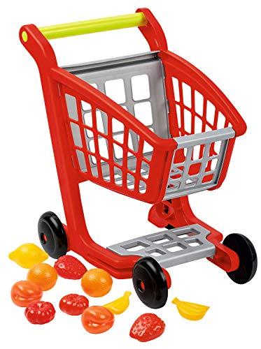 Ecoiffier – Einkaufswagen für Kinder – ideal für Kaufladen und Supermarkt, mit Spiellebensmittel, auch als Lauflernwagen, für Kinder ab 18 Monaten