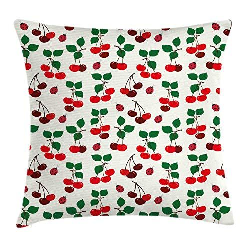 Fleeting Art Studio Fundas de almohada cuadradas de 60 x 60 cm, cómodas, de tono granate, con hojas de cerezo maduro y mariquitas, 3D, para sofá, decoración del hogar, 3 unidades