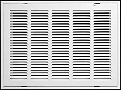 "24"" X 18 Steel Return Air Filter Grille for 1"" Filter - Fixed Hinged - Ceiling Recommended - HVAC Duct Cover - Flat Stamped Face - White [Outer Dimensions: 26.5 X 19.75]"