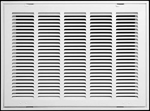 24' X 18 Steel Return Air Filter Grille for 1' Filter - Fixed Hinged - Ceiling Recommended - HVAC Duct Cover - Flat Stamped Face - White [Outer Dimensions: 26.5 X 19.75]