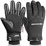 KINGSBOM -40℉ Winter Waterproof Thermal Gloves - 3M Thinsulate Windproof Touch Screen Warm Gloves - for Driving,Cycling,Riding,Running,Outdoor Sports - for Women and Men - Black (X-Large)