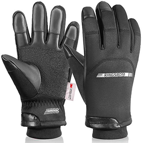 KINGSBOM -40℉ Winter Waterproof Thermal Gloves - 3M Thinsulate Windproof Touch Screen Warm Gloves - for Driving,Cycling,Riding,Running,Outdoor Sports - for Women and Men - Black - (Small)