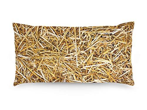 FOONKA Kissenbezug 80x40 cm, 100% Baumwolle, Cotton, Stroh, Beige, Braun