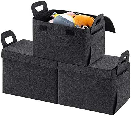 YOUDENOVA Storage Baskets with Lid Sturdy Felt Storage Bins for Closet Shelves Decorative Storage product image