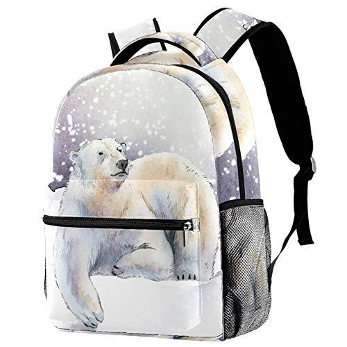 LAZEN Mochila informal Mochila de colegio y escuela secundaria Senderismo Camping Mochila de día Nieve Invierno Animal Oso polar