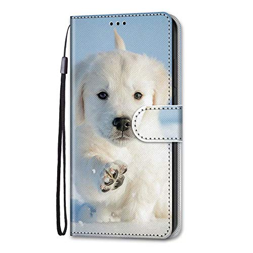 Nokia 5.3 Case, 3D Art Shockproof Premium Soft PU Leather Shock-Absorption Notebook Wallet Phone Cases with Kickstand Function Card Holder ID Slot Slim Flip Protective Cover Snow Dog