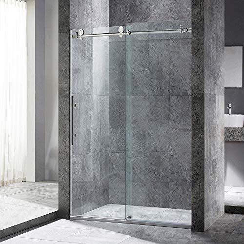 WOODBRIDGE Frameless Sliding Shower Door, 56'-60' Width, 76' Height, 3/8' (10 mm) Clear Tempered Glass, Brushed Nickel Finish, Designed for Smooth Door Closing and Opening. MBSDC6076-B
