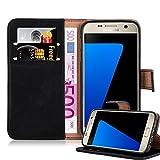 Cadorabo Funda Libro para Samsung Galaxy S7 en Negro Grafito - Cubierta Proteccíon con Cierre Magnético, Tarjetero y Función de Suporte - Etui Case Cover Carcasa