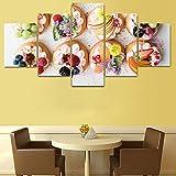 YDGG Impresiones Carteles Postre de Frutas 5 Piezas Lienzo Pintura Arte de la Pared para el Comedor Decoración para el hogar Imágenes-40x60 40x80 40x100cm sin Marco