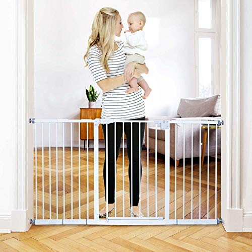 Kinfant 58-Inch Extra Wide Walk Thru Baby Gate,Includes 6-Inch, 8-Inch and 12-Inch Extension Kit, 4 Pack of Pressure Mount Kit, 4 Pack of Wall Cups and Mounting Kit